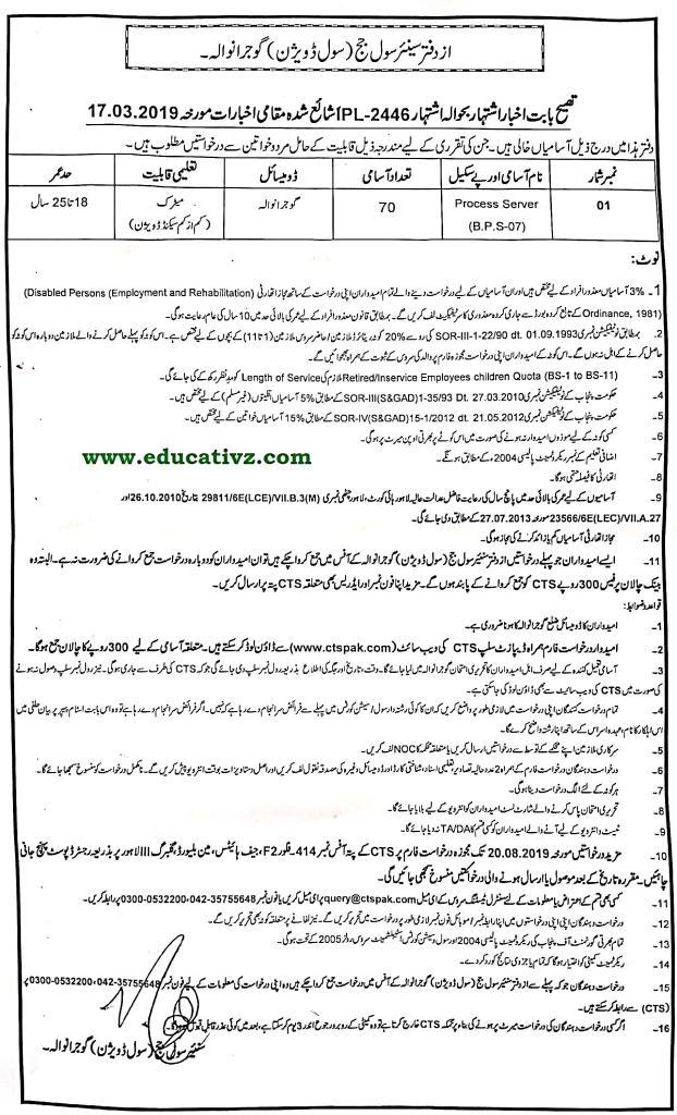 Jobs in Civil Court Gujranwala 2019