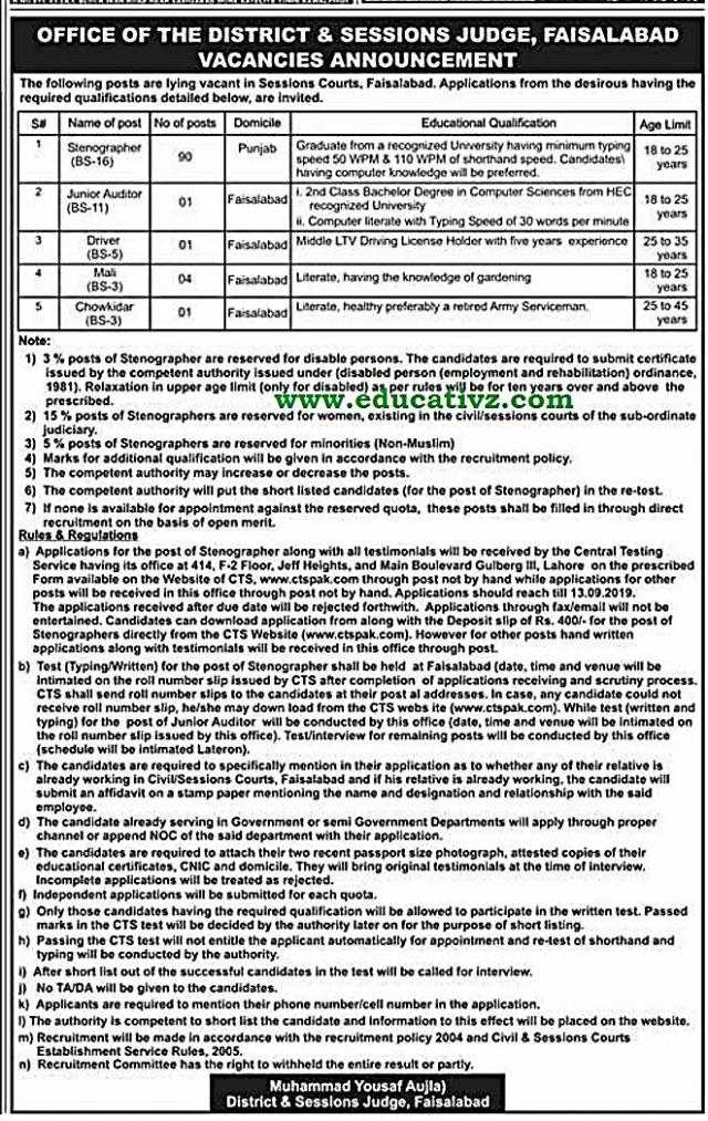 District and Session Court Jobs Faisalabad