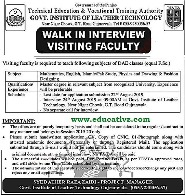 Jobs In Gujranwala Teaching Faculty Tevta Educativz