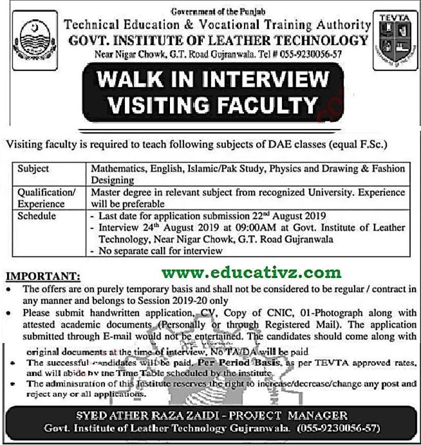Jobs in Gujranwala Teaching Faculty TEVTA