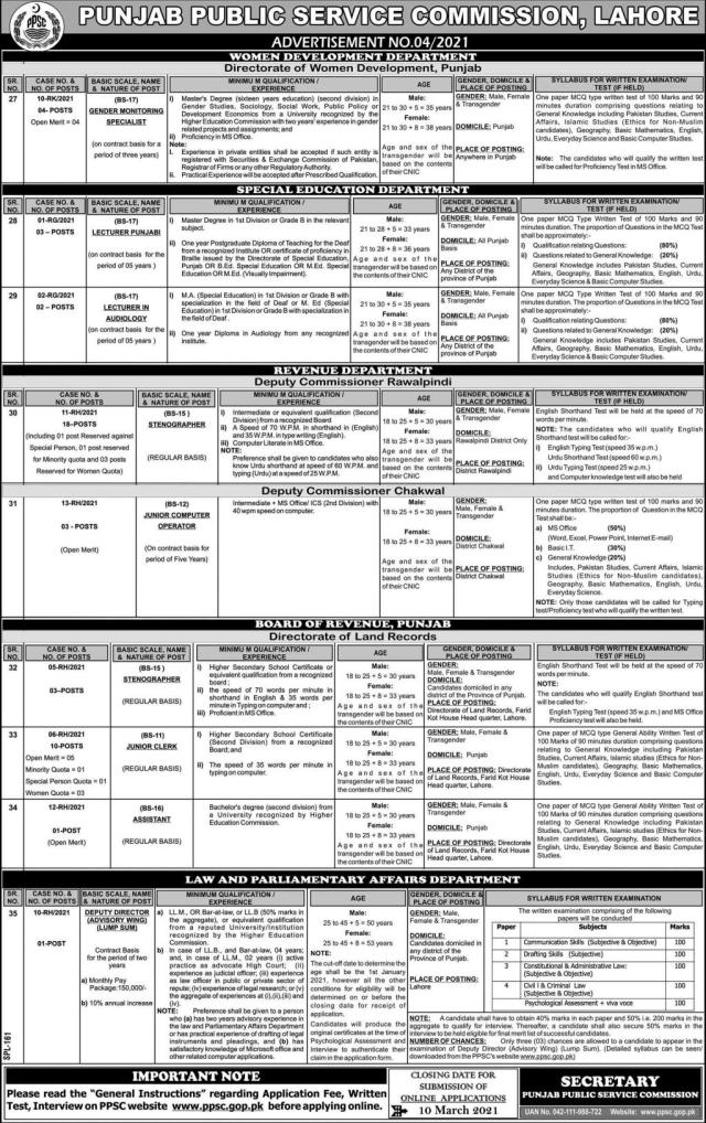 PPSC Advertisement 4/2021 04 Apply Online Job Ads 2021