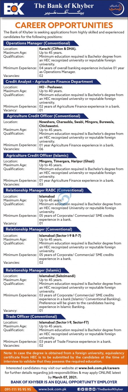 BOK Jobs 2021 Apply Online Bank of Khyber Latest