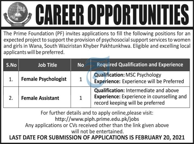 The Prime Foundation (PF) Jobs 2021 KPK