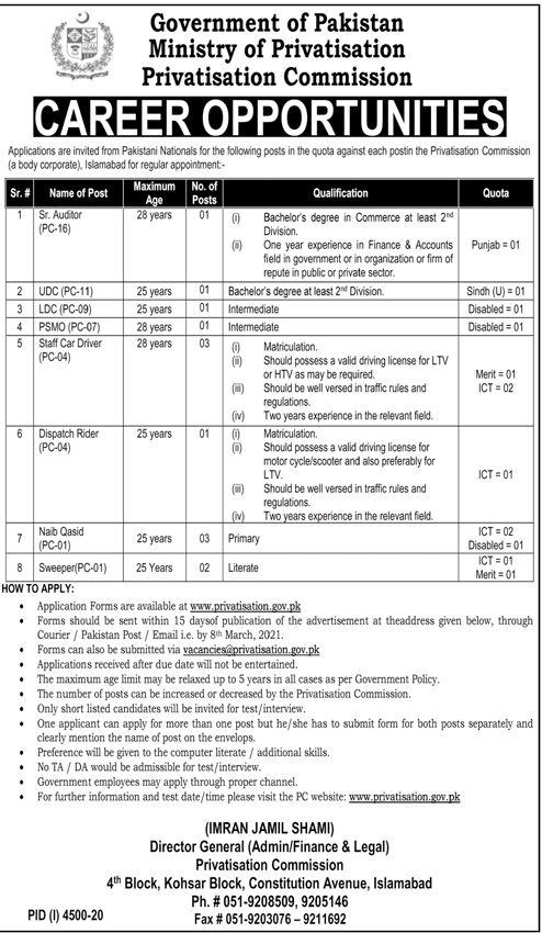 Ministry of Privatisation Commission Jobs 2021 Application Form Latest