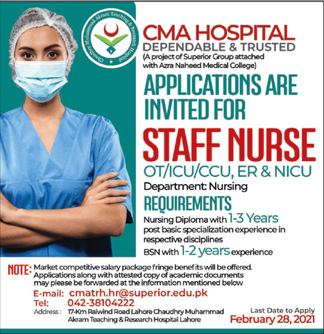 CMA Hospital Lahore Jobs 2021 for Staff Nurse Latest Advertisement