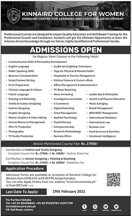 Kinnaird College For Women Admissions 2021 Latest