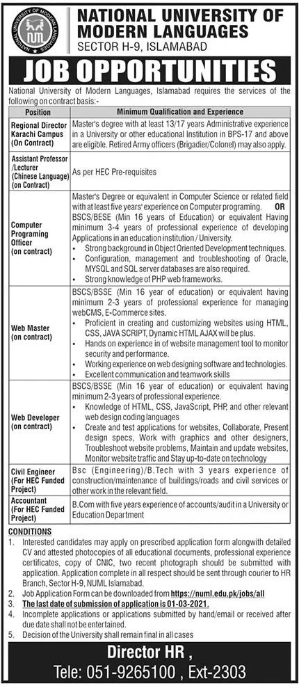 National University Of Modern Languages Jobs 2021 Islamabad