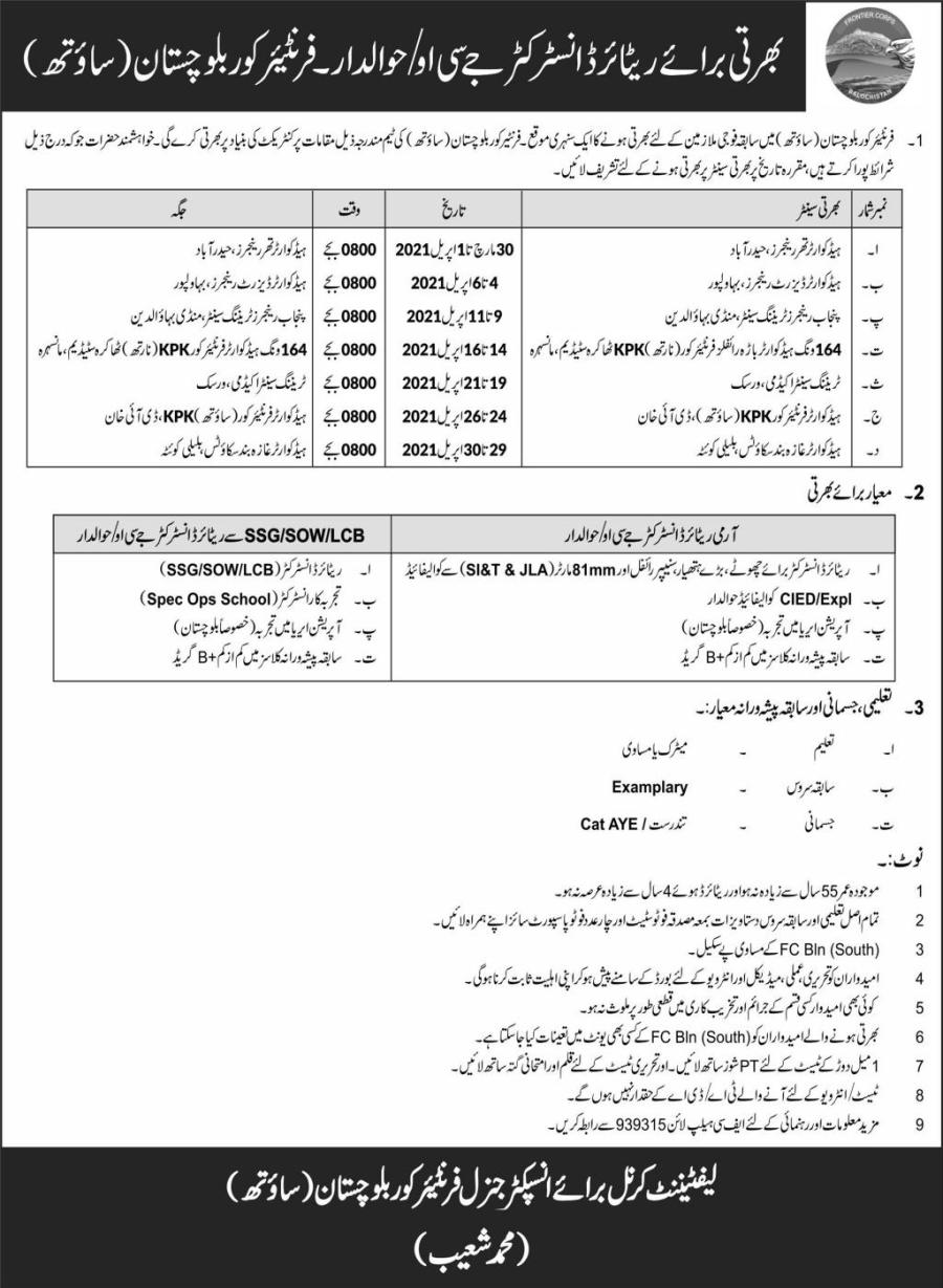 FC Balochistan (South) Jobs 2021 for Retired JCO/Hawaldar Latest