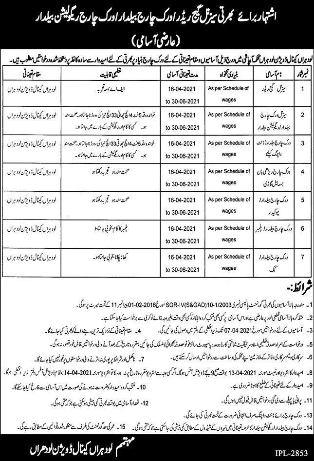 Latest Govt Jobs in Lodhran - Irrigation Department Canal Division 2021 Advertisement