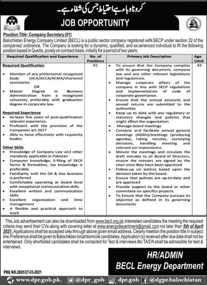 Balochistan Energy Company Limited BECL-Jobs 2021 Latest Quetta
