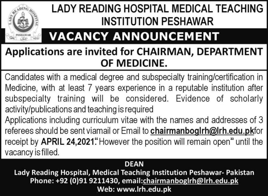 LRH Kpk Jobs April 2021 Advrts