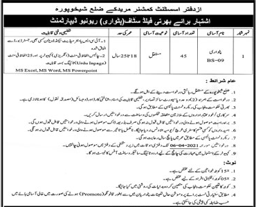 Patwari Jobs in Muridke District  Sheikhupura Assistant Commissioner Office 2021 Advertisement