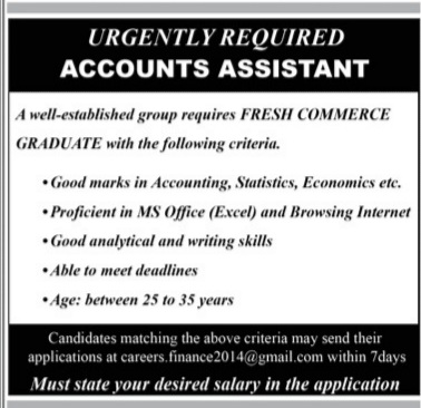 Accounts Assistant Jobs 2021 Advertisement for Fresh Graduate