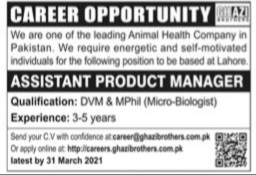 Ghazi Brother Company Lahore Jobs 2021 for Assistant Product Manager Latest