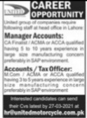 Manager Accounts & Tax Officer Jobs 2021 Latest In Pakistan