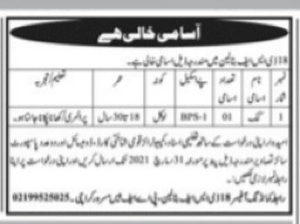 Pak Army Karachi Jobs 2021 Advertisement for 18 DSF Battalion