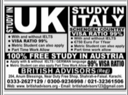 Study in UK and Italy free Visa for Austria