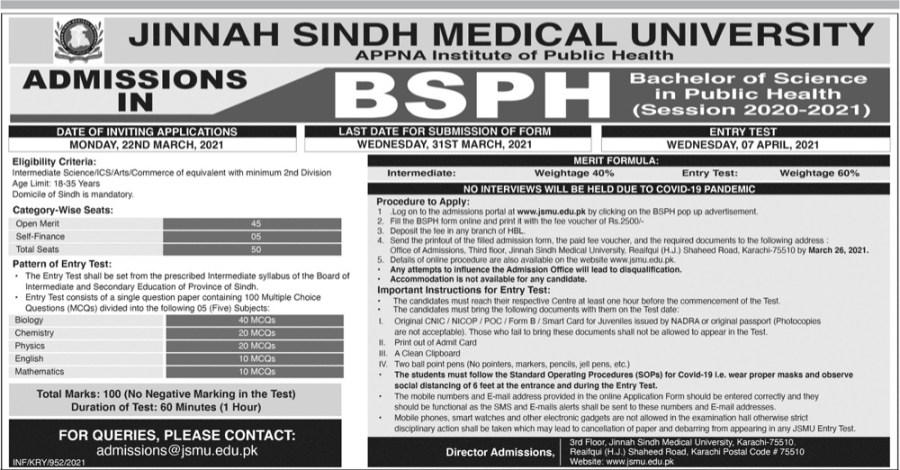 Jinnah Sindh Medical University Admissions 2021