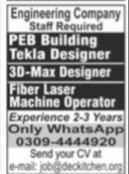 Engineering company staff required Jobs 2021