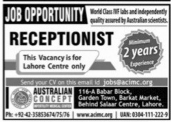 Australian Concept Infertility Medical Center Jobs 2021
