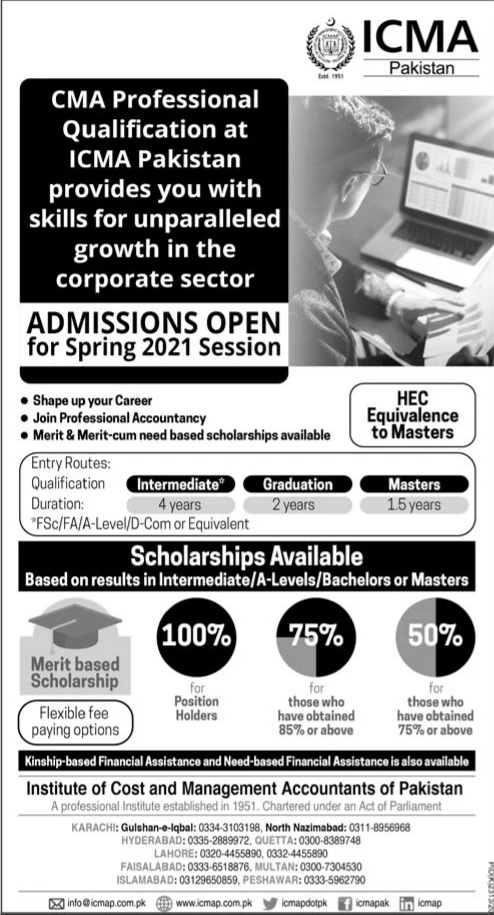 Institute of Cost & Management Accountants Spring Admissions 2021