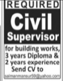 Required Civil Supervisor For Building Works Jobs 2021