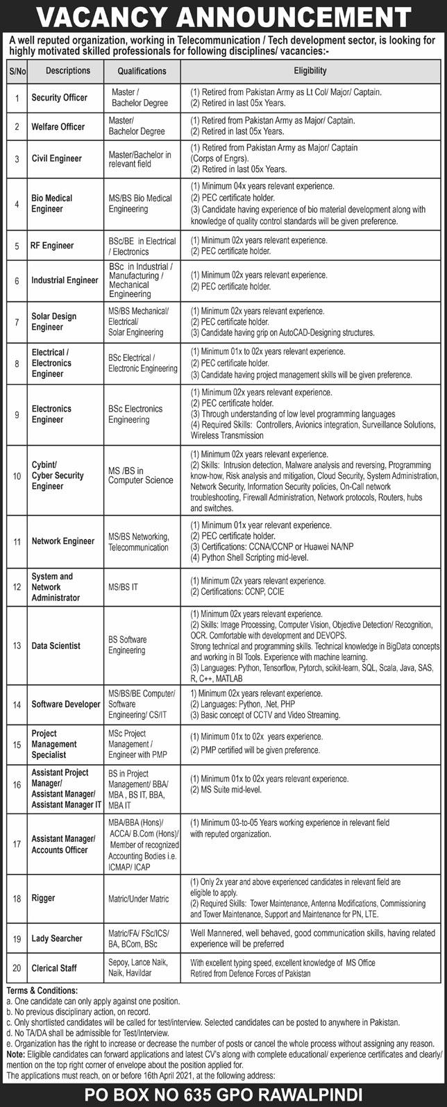 PO Box 635 GPO Rawalpindi Jobs Application Form