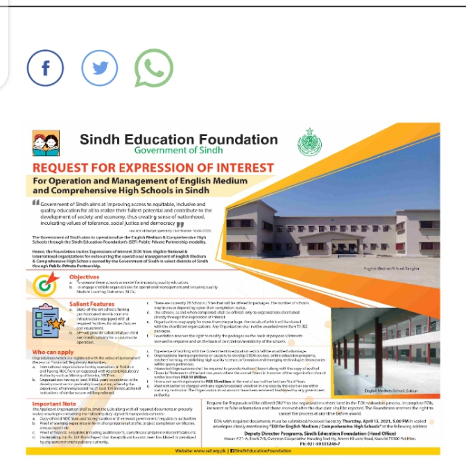Sindh Education Foundation Admissions 2021