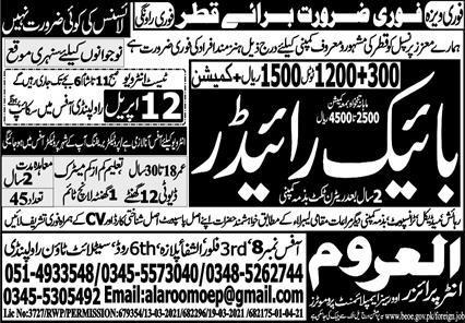 Al Aroom Enterpriers Overseas Employment Promoters Jobs 2021