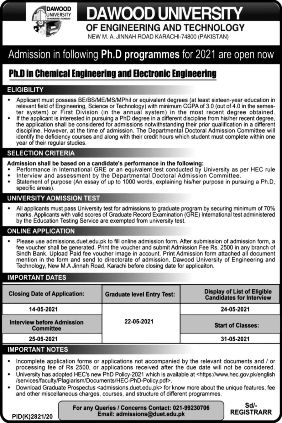 Dawood University of Engineering and Technology Admissions 2021