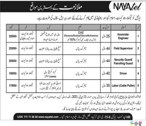 Nayatel Pvt Limited Jobs 2021 April Latest Advertisement