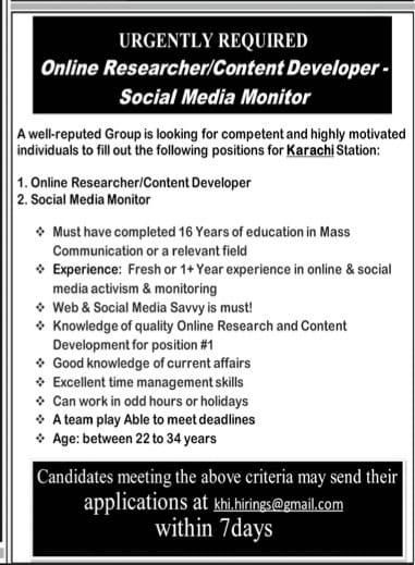 Online researcher/content developer-social medica monitor job 2021