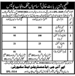 Re-advertisement of Latest Punjab Police Jobs 2021 April for Class 4