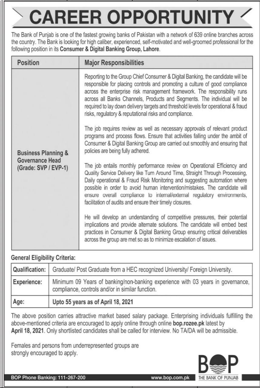 www.bop.rozee.pk Jobs 2021 for Business Planning & Governance Head Latest