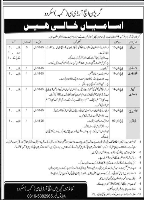 Garrison HRDC Skardu Jobs 2021-Pakistan Army Garrison Advertisement