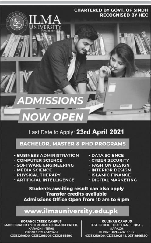 ILMA University Admissions 2021 Karachi Latest