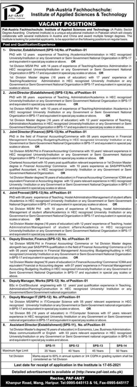 Pak Austria Fachhochschule institute of Applied Science & Technology jobs for Director ,Establishment ,Joint Director ,Joint Provost ,Deputy Director and others April 2021 Advertisement