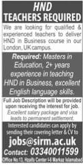 HND Teacher Jobs 2021 London & UK Latest