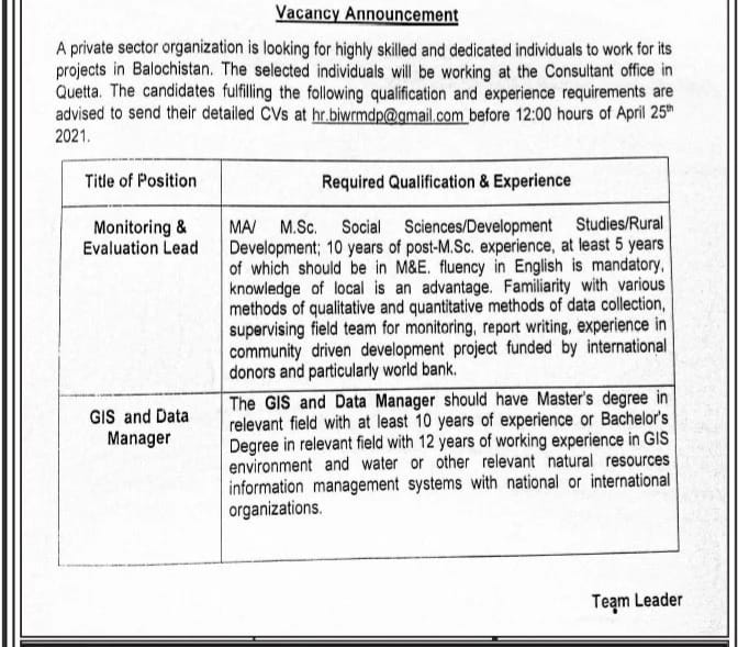 Private sector organization Quetta jobs 2021 latest advertisement