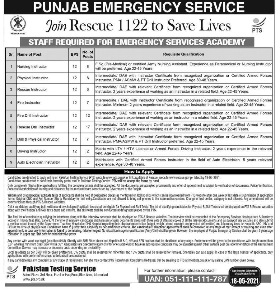 1122 jobs Punjab Emergency Service Advertisement 2021 latest