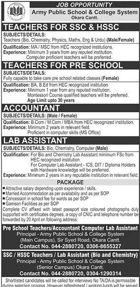 Army Public School & College System Jobs 2021