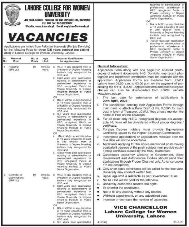 Lahore College For Women University Jobs 2021 Apply Online