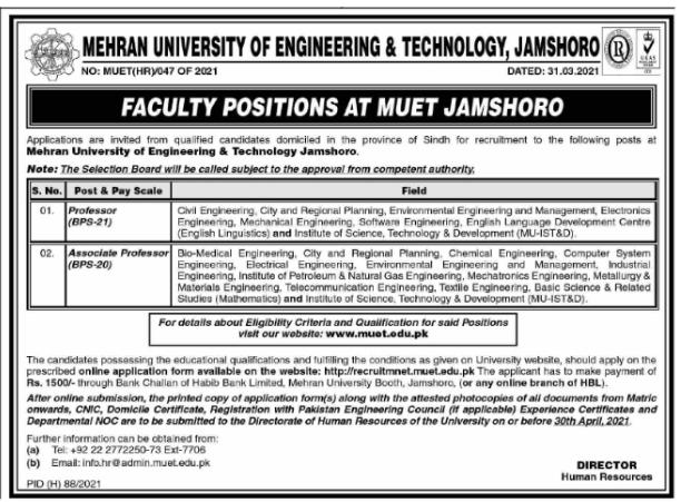 Mehran University Of Engineering & Technology Jobs 2021 Apply Online