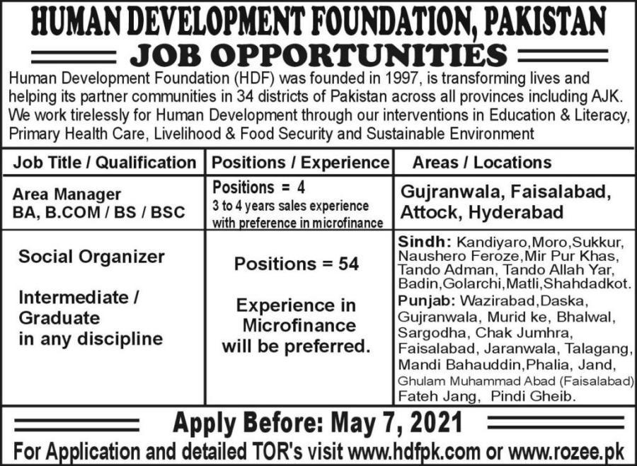 Human Development Foundation(HDF) jobs for Manager& Social Organizer April 2021 Advertisement