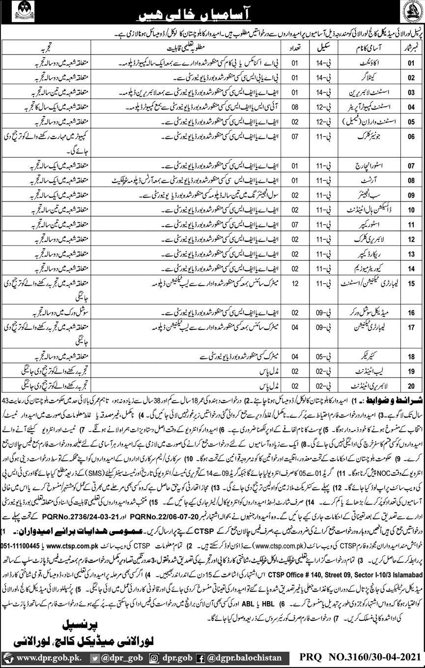 Balochistan Jobs for Assistant Computer Operator, Medical Social worker, Artists,Sub Engineer,Store keeper,Accountant,& Jounior Clerk May 2021 Advertisement