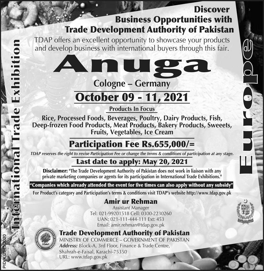 Trade Development authority of pakistan Anuga Admissions 2021