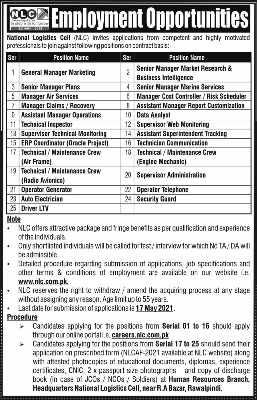 National Logistcs Cell (NLC) Jobs For General Manager Marketing, Senior Manager Plans, Manager Air Services, Manager Claims & Others May 2021 Advertisement