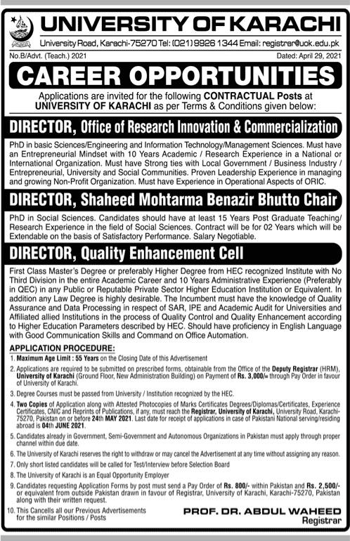 University of Karachi  New Jobs 2021 Latest Advertisement