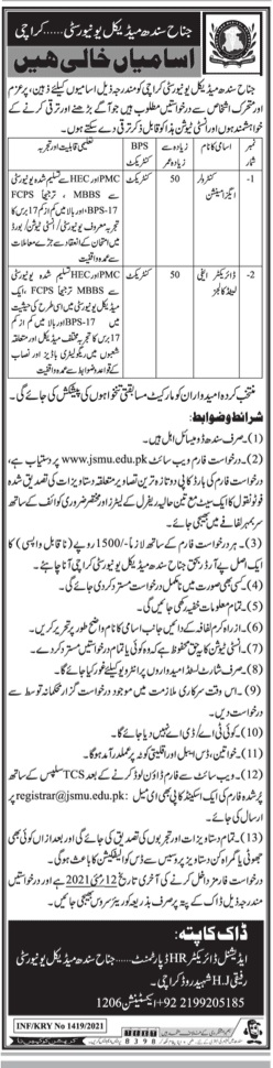 Jinnha Sindh Medical  University Karachi jobs May 2021 Advertisement