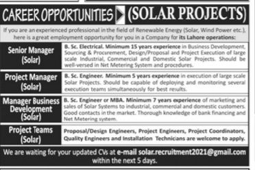 Latest Lahore jobs for Senior Manager,Project Manager & Manager Business Development May 2021 Advertisement